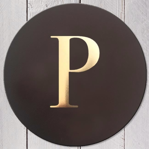Letter P Leather Coaster