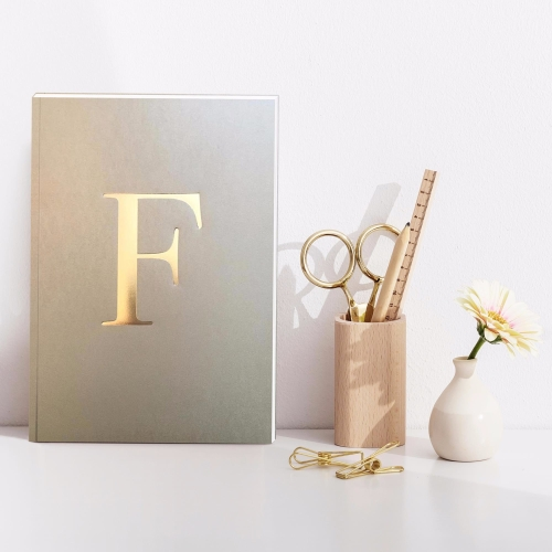 Letter F Gold Notebook