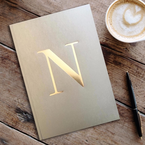 Letter N Gold Notebook