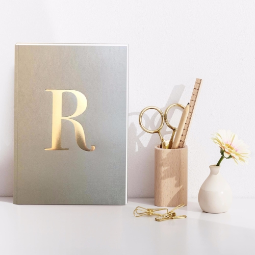 Letter R Gold Notebook