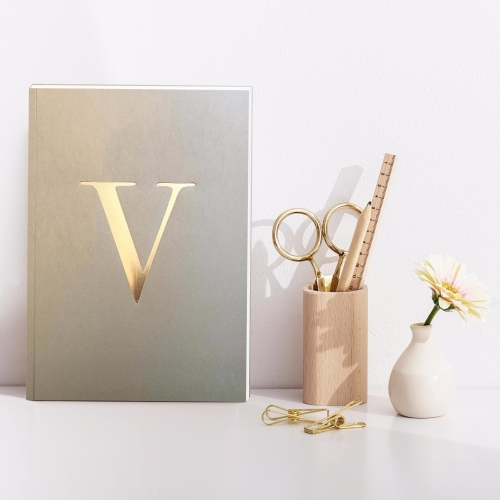 Letter V Gold Notebook