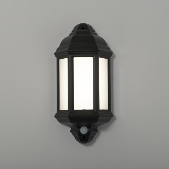 Manta 10W LED Black Half Wall Lantern with Dimming PIR