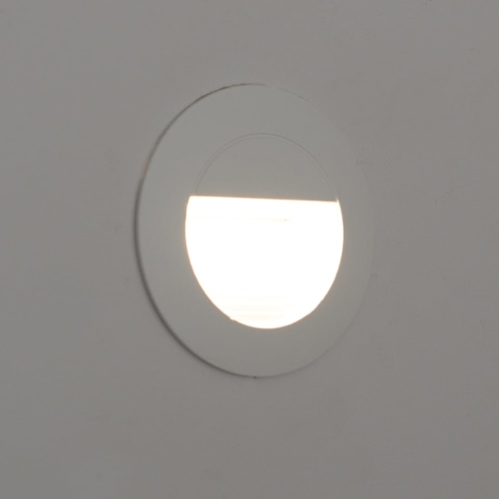 Mini Carpio 1.2W Warm White LED Round Recessed Wall Wash Light White