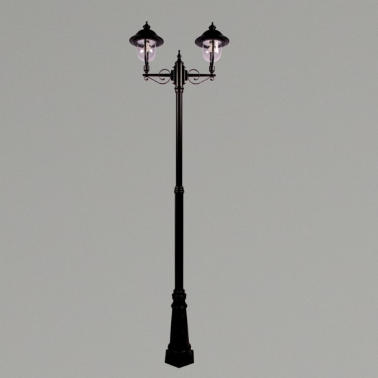 Romantica E27 Twin Street Post Lantern Black