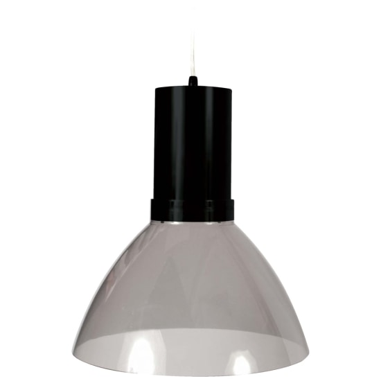 Mika 26W 3000K LED Pendant Light Black with Smoke Transparent Shade