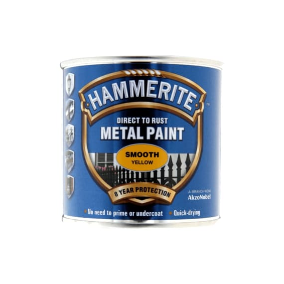 Hammerite Direct To Rust Metal Paint Smooth Yellow