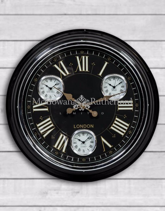 Multi Dial Black with Black & Gold Face Wall Clock