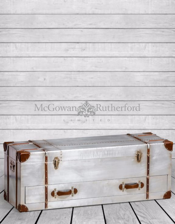 Industrial Travel Trunk Silver Wide Trunk/Media Unit