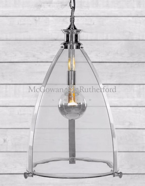 Chrome and Glass Large Lantern Ceiling Light