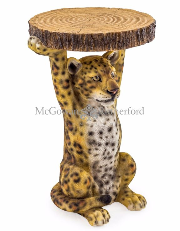 "Leopard Holding ""Trunk Slice"" Side Table"