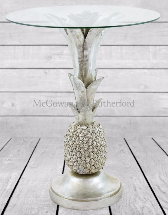 promo code 4e486 1012c Silver Pineapple Glass Top Side Table
