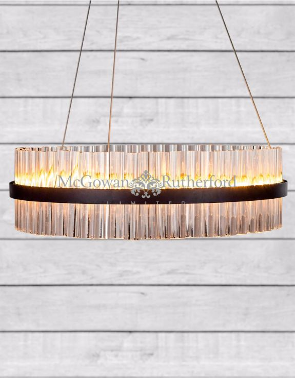 Black Ring LED Chandelier Double Layer Crystals