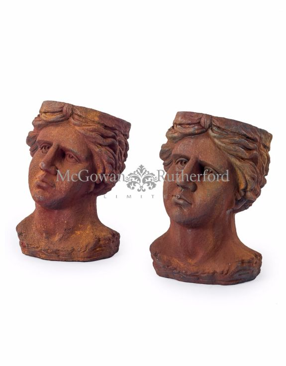 Set of 2 Antiqued Rusted Classical Head Planters