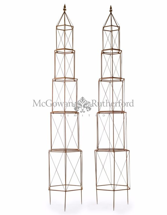 Pair of Antiqued Rusted Extra Large Garden Grower Obelisks