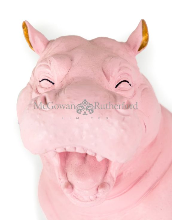 Pink with Gold Details Laughing Hippo Figure
