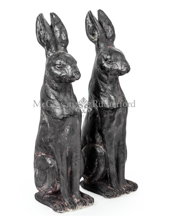 Pair of Small Rustic Rabbit Figures