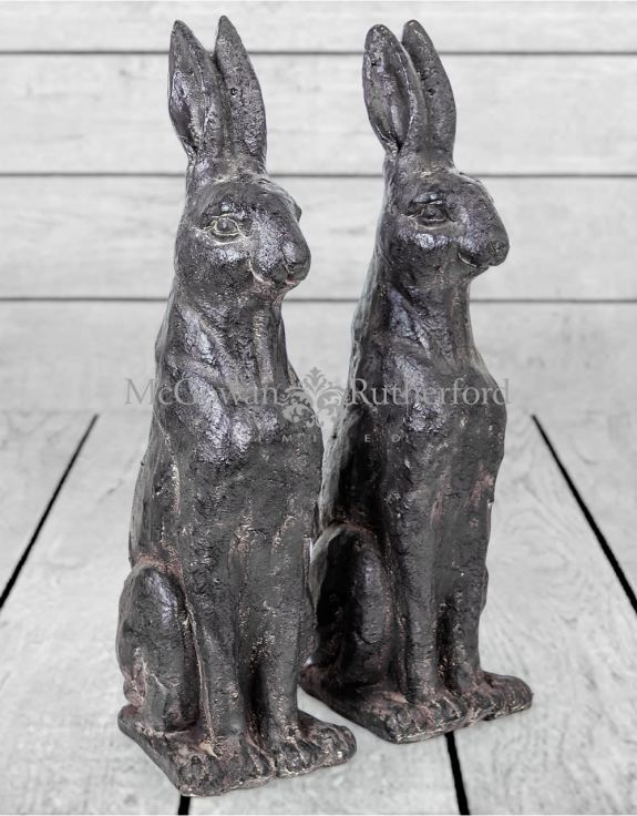 Pair of Large Rustic Rabbit Figures