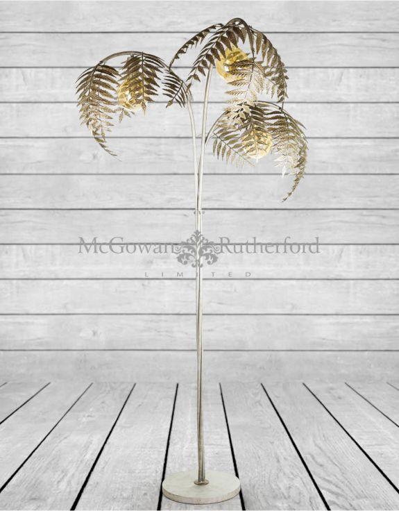 Antique Silver Palm Leaf Floor Lamp, Palm Floor Lamp Silver