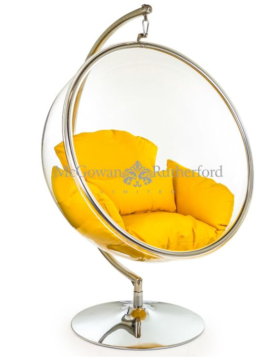 Retro Hanging Bubble Chair on Steel Base with Orange Cushion