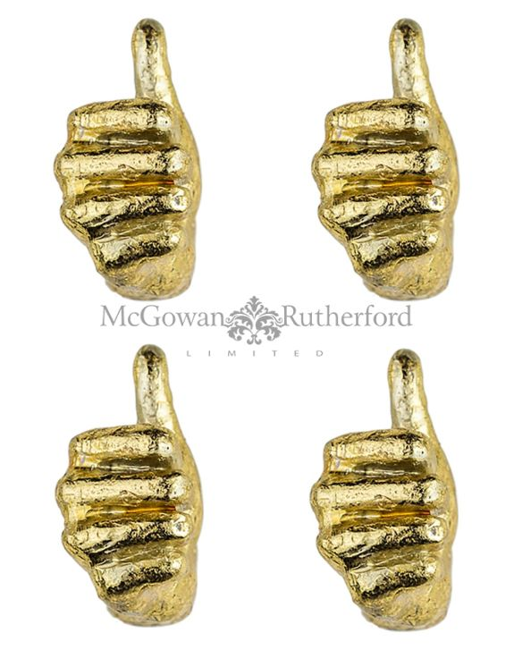 Gold Set of 4 Thumbs Up Wall Hands
