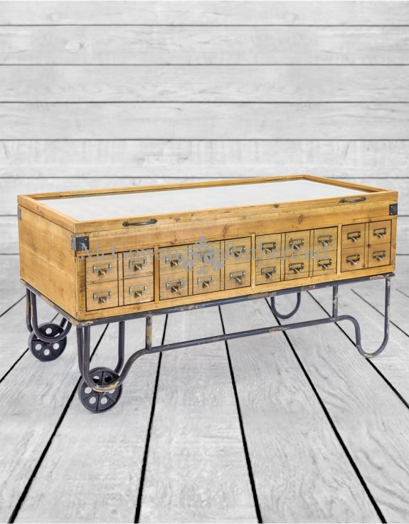 Antiqued Wooden Industrial Display Coffee Table