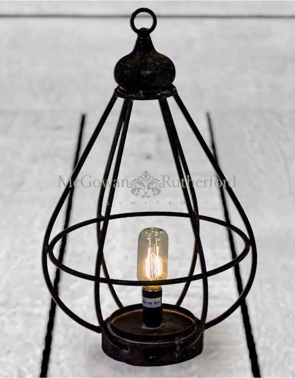 Antiqued Iron Small Cage LED Lantern (USB Rechargeable)