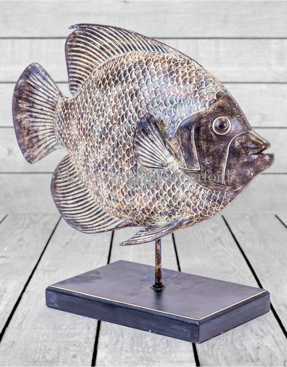 Rustic Wood Effect Fish on Stand