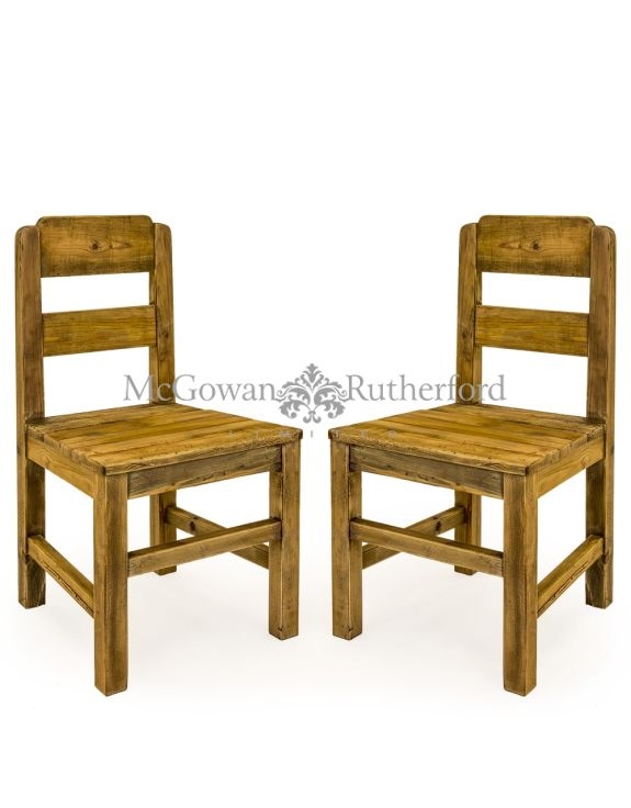 Pair of Reclaimed Pine Refectory Dining Chairs