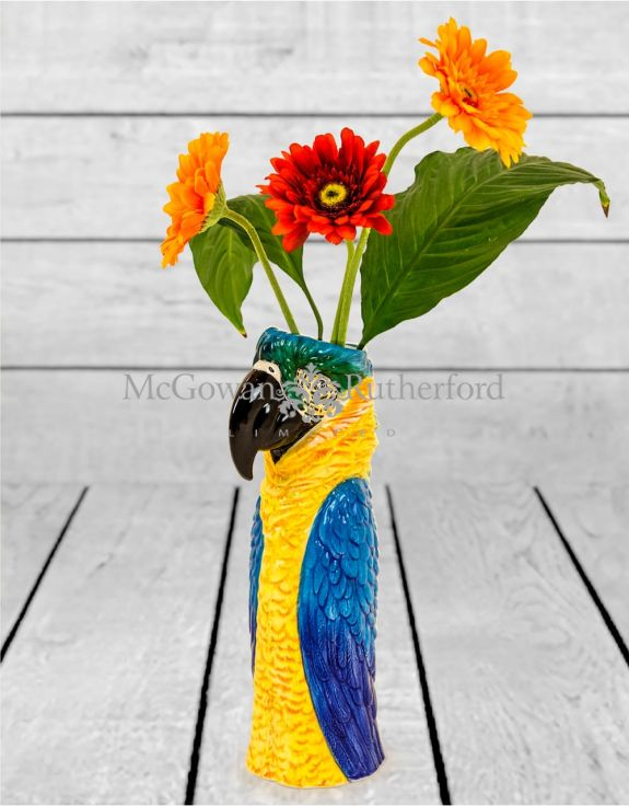 Ceramic Macaw/Parrot Head Vase