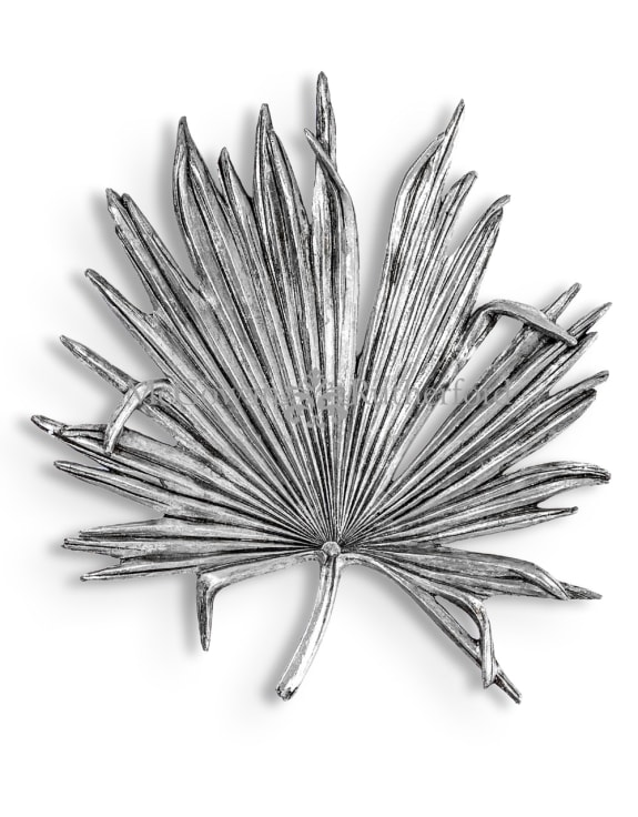 Large Antique Silver Palm Leaf Wall Decor
