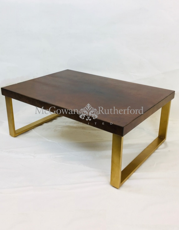 Dark Wooden Coffee Table With Brass Style Detailing