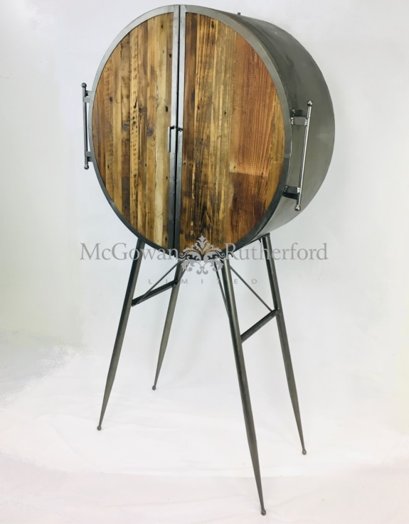Round Industrial Bar Cabinet with Reclaimed Wood Doors
