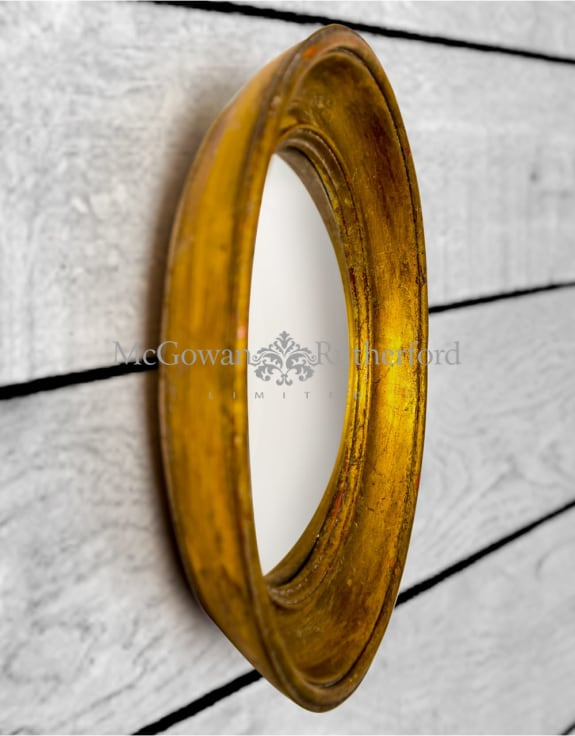 Antiqued Gold Deep Framed Extra Small Convex Mirror