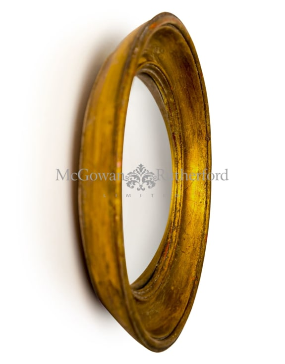 Antiqued Gold Deep Framed Small Convex Mirror
