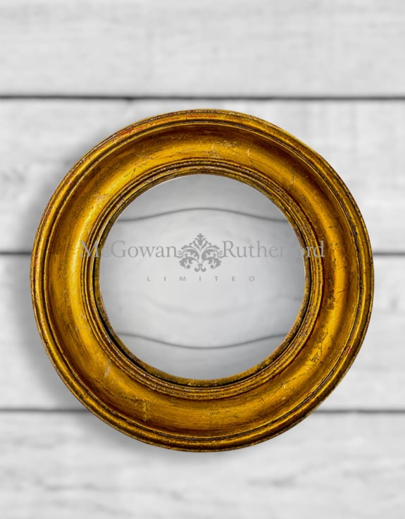 Antiqued Gold Deep Framed Large Convex Mirror