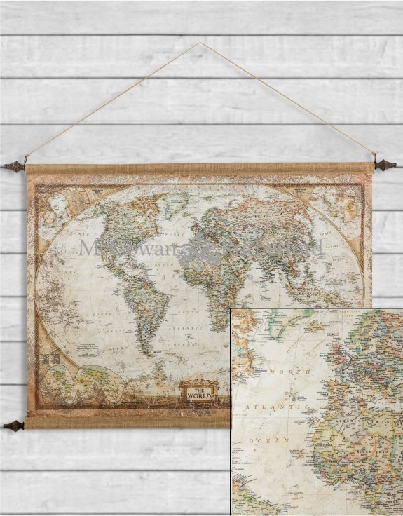Large Antiqued Wall Hanging Canvas World Map
