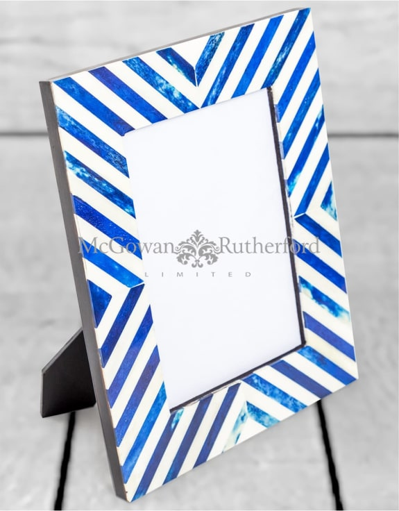 "Blue/Grey & White Bone Inlay 5x7"" Photo Frame"