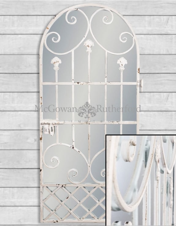 Rustic Chantilly White Tall Garden Gate Wall Mirror