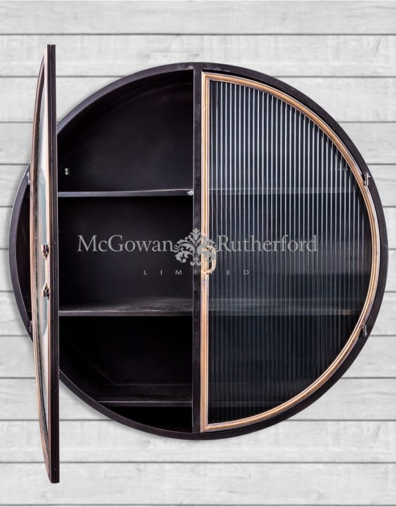 "Black and Antique Gold ""Orwell"" Large Round Metal Wall Cabinet"