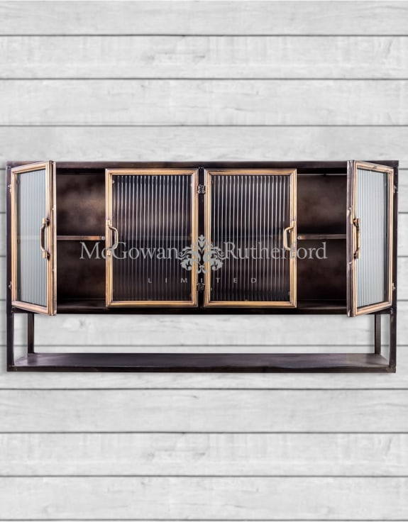 "Black and Antique Gold ""Orwell"" Wide Metal Wall Cabinet with Shelf"