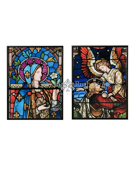Set of 2 Stained Glass Style Prints with Black Metal Frames