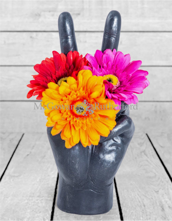 "Large Black ""Peace"" Hand Ornament/Vase"