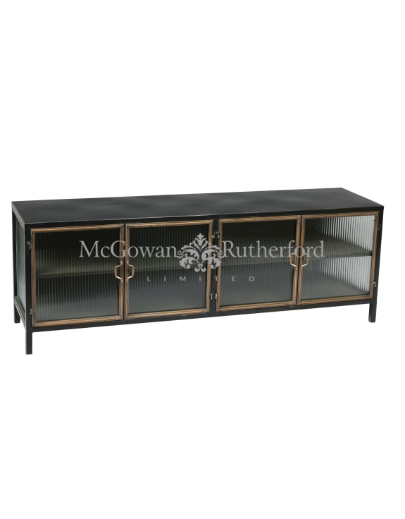 "Black and Antique Gold ""Orwell"" Wide Media Unit/Side Cabinet"