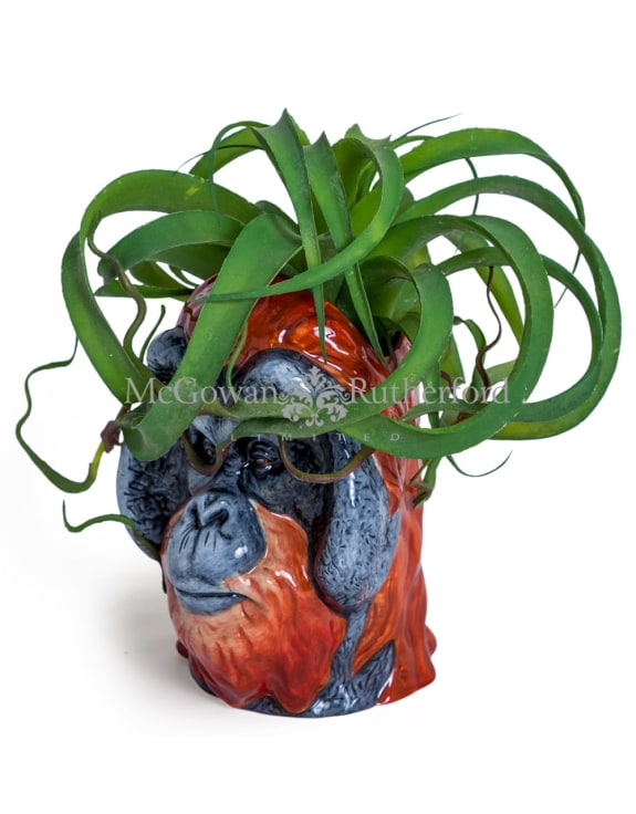 Ceramic Orangutan Head Storage Jar/Vase