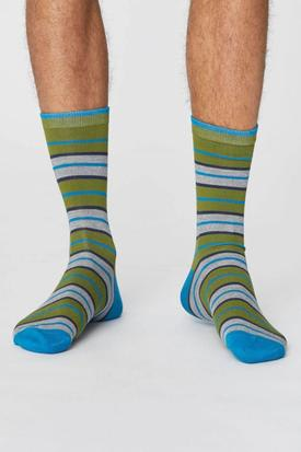 Thought Bamboo & Organic Cotton Rugby Stripe Socks | Olive Green