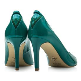 VEERAH Vegan Leather Florence Peep Toe | Emerald Green