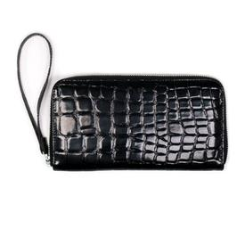 Will's Vegan Shoes Large Zipper Wallet | Black Patent Mock Croc