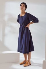 Kowtow Organic Cotton Munari Dress | Navy Check