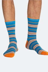 Thought Bamboo & Organic Cotton Rugby Stripe Socks | Bright Blue