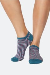 Thought Bamboo & Cotton Spot & Stripe Trainer Socks | Ocean Blue